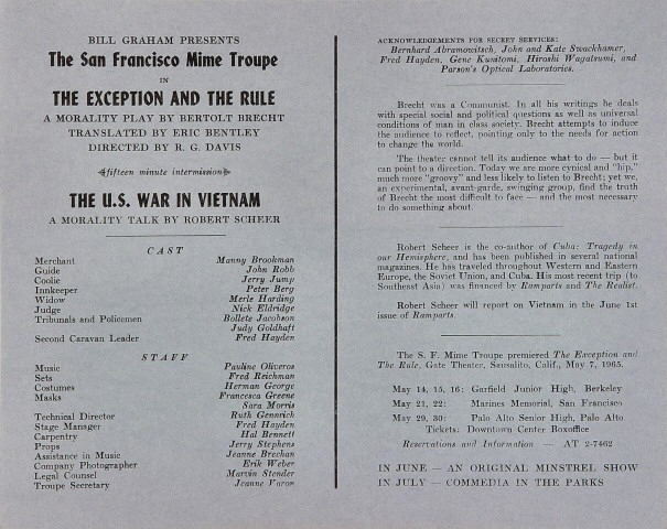 San Francisco Mime Troupe Program