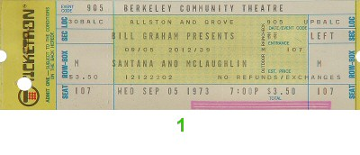 Santana and McLaughlin 1970s Ticket