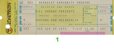 Santana and McLaughlin1970s Ticket