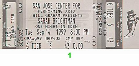 Sarah Brightman Vintage Ticket