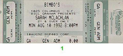 Sarah McLachlan Vintage Ticket