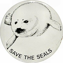 Save The Seals Vintage Pin