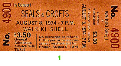 Seals & Crofts 1970s Ticket
