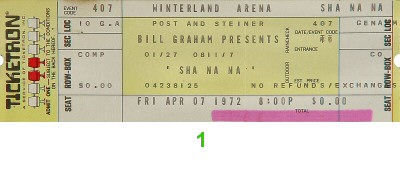 Sha Na Na 1970s Ticket