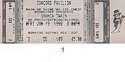 Shania Twain 1990s Ticket