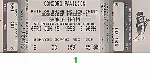 Shania Twain Vintage Ticket