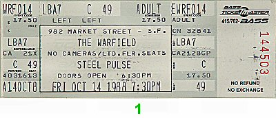 Steel Pulse 1980s Ticket