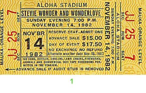 Stevie Wonder Vintage Ticket