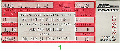 Sting1980s Ticket