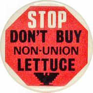 Stop Don't Buy Non-Union Lettuce Vintage Pin