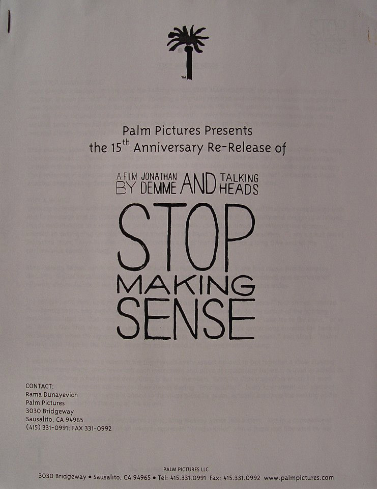 Stop Making Sense Program
