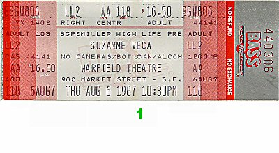 Suzanne Vega 1980s Ticket