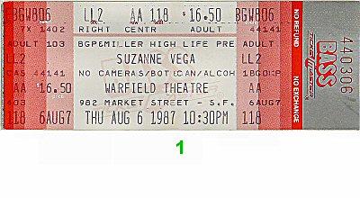 Suzanne Vega1980s Ticket