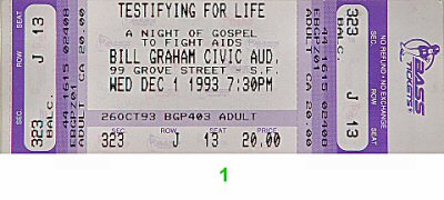 Testifying For Life: A Night of Gospel to Fight AIDS 1990s Ticket