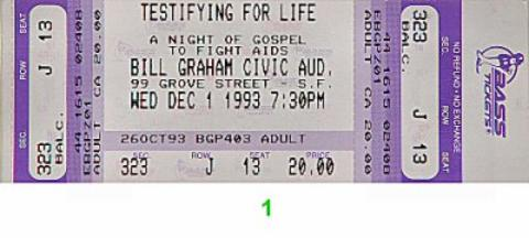 Testifying For Life: A Night of Gospel to Fight AIDS Vintage Ticket