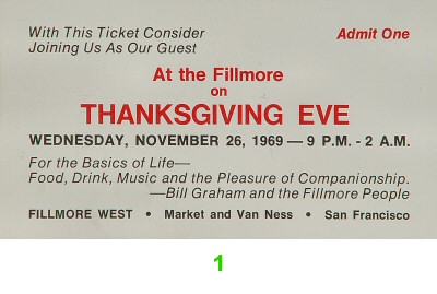 Thanksgiving Eve 1960s Ticket