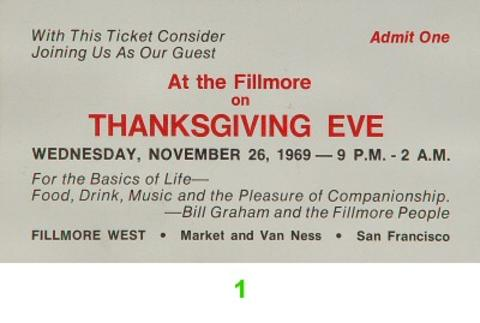 Thanksgiving Eve Vintage Ticket