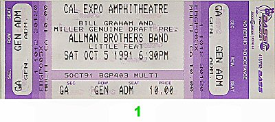 The Allman Brothers Band 1990s Ticket