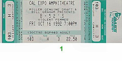 The B-52's Vintage Ticket