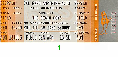 The Beach Boys 1980s Ticket