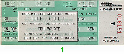 The Cult 1980s Ticket