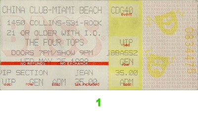 The Four Tops 1980s Ticket