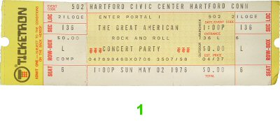 The Great American Rock and Roll Concert Party 1970s Ticket
