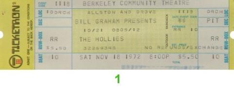 The Hollies Vintage Ticket