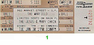 The Jesus &amp; Mary Chain1990s Ticket