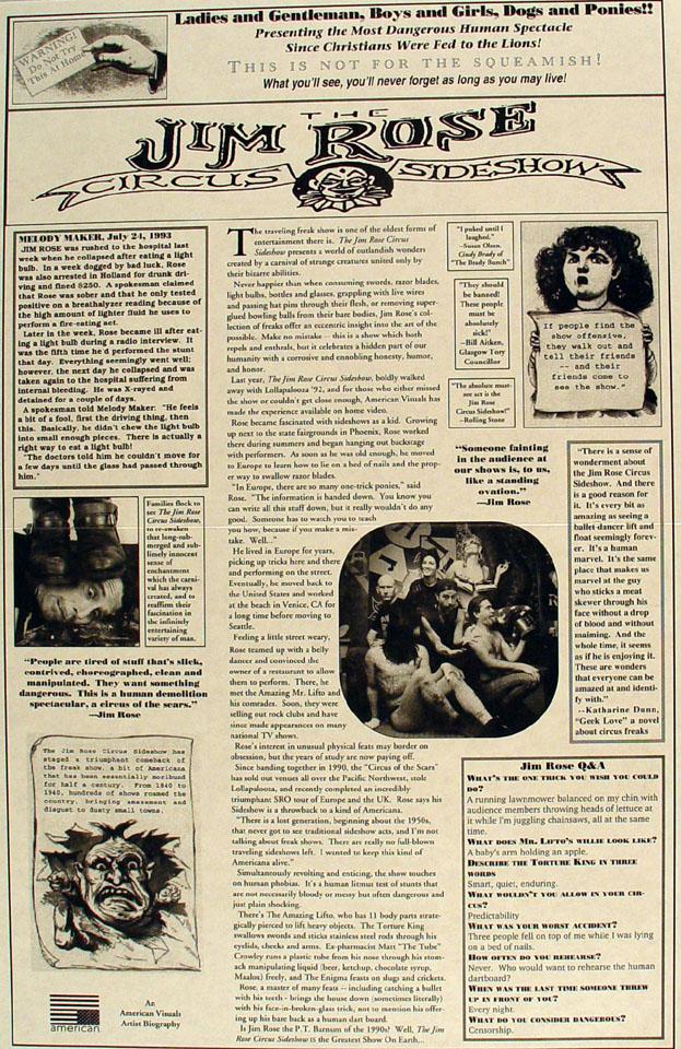 The Jim Rose Circus Sideshow Poster