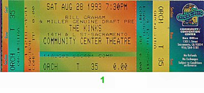 The Kinks 1990s Ticket