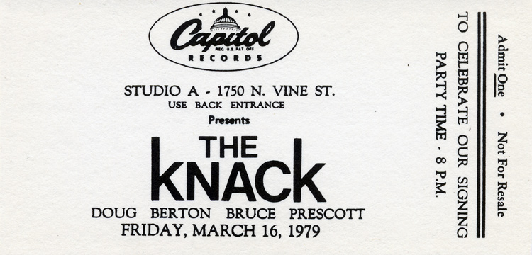 The Knack 1970s Ticket