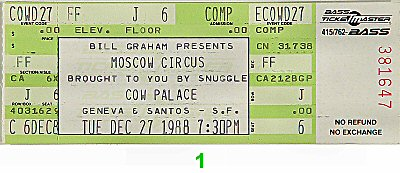 The Moscow Circus1980s Ticket