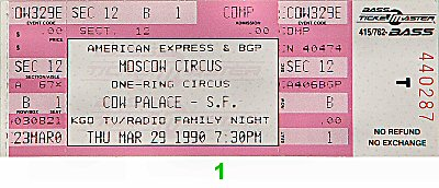 The Moscow Circus 1990s Ticket