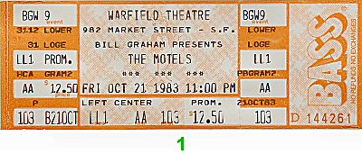 The Motels 1980s Ticket