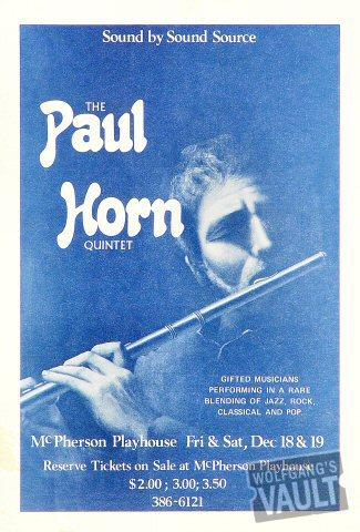 The Paul Horn Quintet Handbill