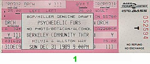 The Psychedelic Furs Vintage Ticket