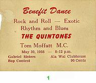 The Quintones Pre 1960s Ticket