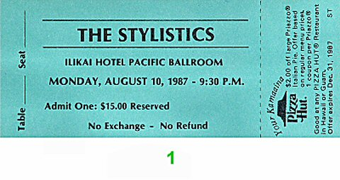The Stylistics 1980s Ticket