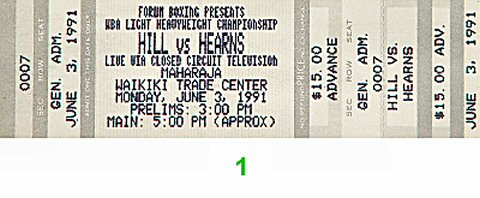 "Thomas ""Hitman"" Hearns 1990s Ticket"