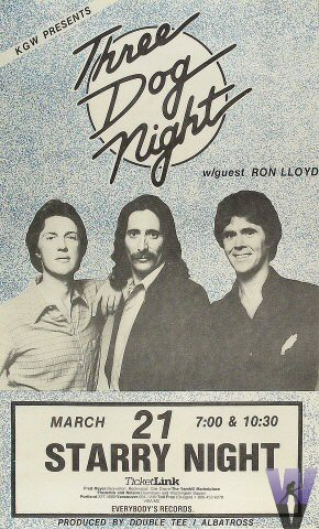 Three Dog Night Poster Starry Night Portland Or Mar 21