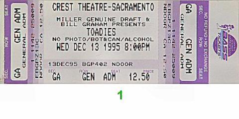 Toadies Vintage Ticket