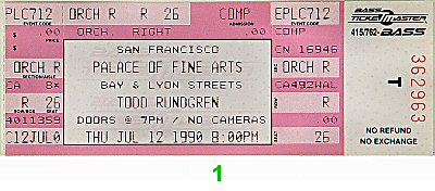 Todd Rundgren 1990s Ticket