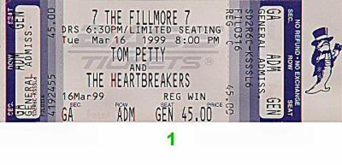 Tom Petty & the Heartbreakers Vintage Ticket