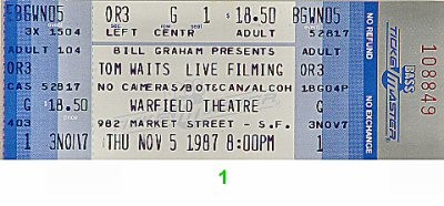 Tom Waits 1980s Ticket
