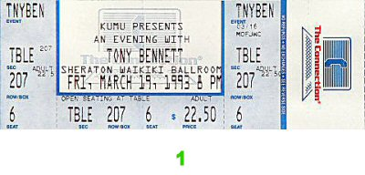 Tony Bennett 1990s Ticket