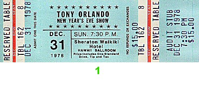 Tony Orlando 1970s Ticket