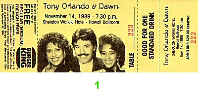 Tony Orlando 1980s Ticket