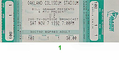 U2 1990s Ticket