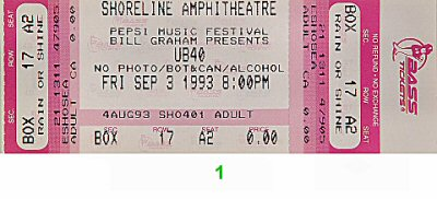 UB40 1990s Ticket
